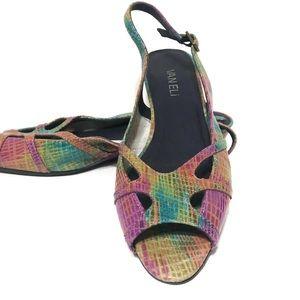 Van Eli rainbow slingback peep toe sandal size 7